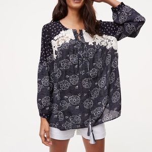 Loft secret garden navy floral peasant blouse S